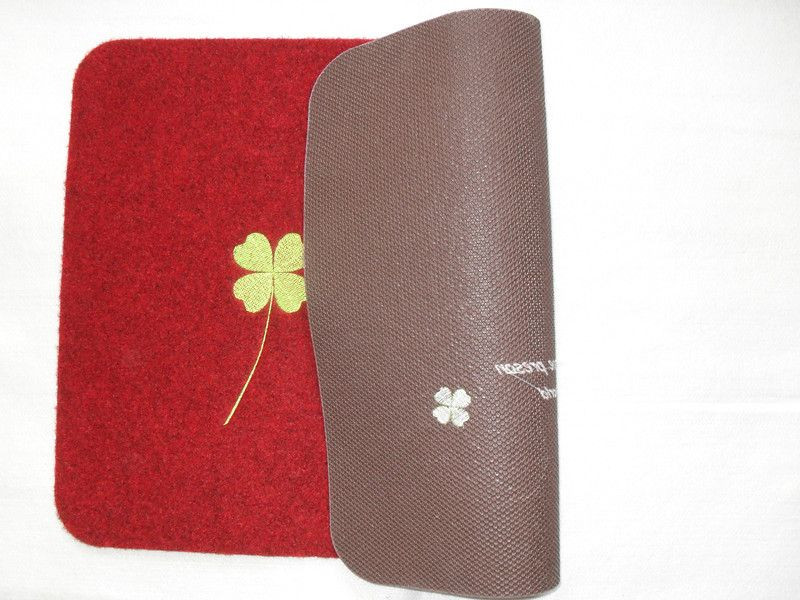 Waterproof Anti-Slip Embroidered Door Mat with PVC Back
