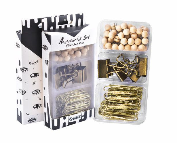 Bronze Gold Assorted Binder Clips Paper Clips Wood Push Pins