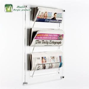Acrylic Newspaper Display stand Hanging File Organizer Wall Mount Mail Holder Magazine Rack