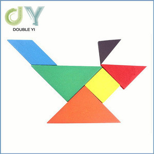 Cheap Wooden Tangram 7- Piece Puzzle , Classic Intelligent Toys