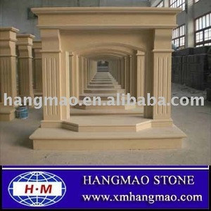 China Yellow Stone Fireplace Indoor Stone Fireplace