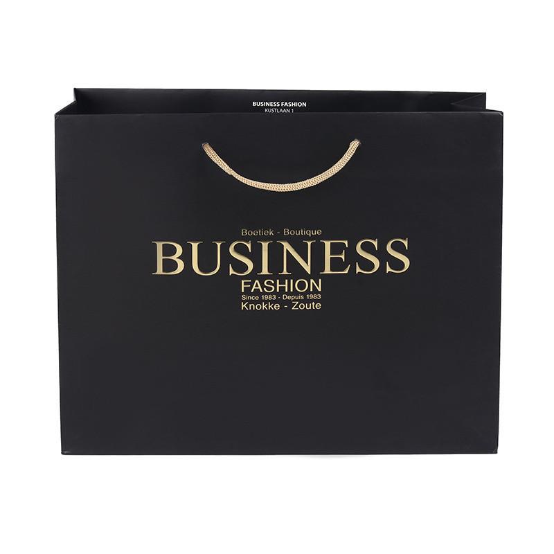 Custom Made Logo Printed Black Matt Gift Paper Bags