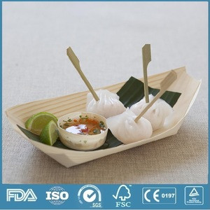Disposable Small Wooden Sushi Boat / Snack Tray for Party