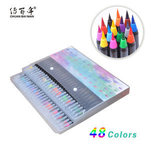Factory Price Wholesale 48+2 Colors Watercolor Calligraphy Brush Pen Marker Pen for Gift