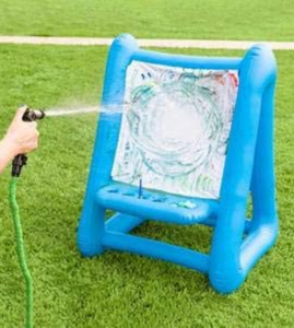 Heavy-Duty Vinyl Inflatable Indoor and Outdoor Easel for Kids with Paints, Sponges, Paintbrush, and Built-in Art Tray