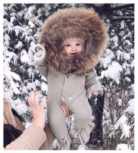 Newborn Baby Clothes Winter Long Sleeve Warm Collar Faux Fox Fur Baby Rompers Wholesale