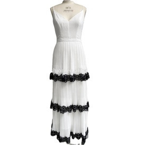 OEM/ODM New Design Backless Pleast Partywear Elegant Spaghetti Strap Sexy Maxi Women Dress With Ruffles Lace Trim