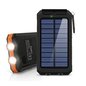 Waterproof portable waterproof mobile battery charger 10000mah solar power bank with LED flashlight and compass