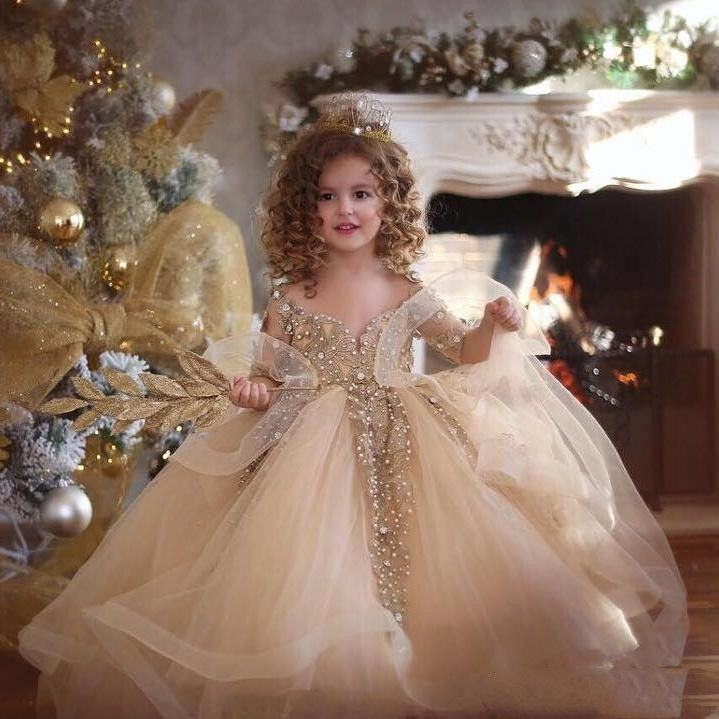 Champagne Ball Gown Flower Girls Dresses For Weddings 2019 Little Kids Toddler Pageant Dress Long Sleeves Crystal First Communion Gowns