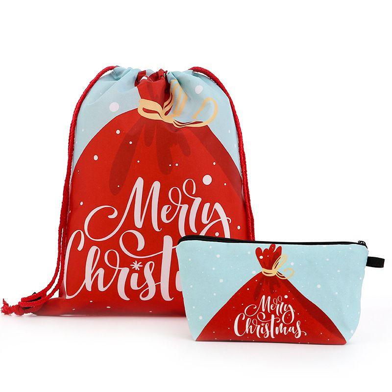 Cartoon Fabric Canvas Drawstring Christmas Bag