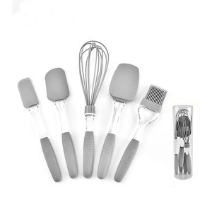 5 Pieces Non-Stick Heat-Resistant Silicone kitchen cooking baking Spatula Set with Stainless Steel Core
