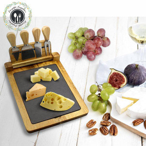 Bamboo Cheese Board 4 pcs knife tools with removeable slate cheese cutting board