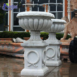 Classic design roman outdoor square natural stone garden hand-carved marble flower pots planter for sale