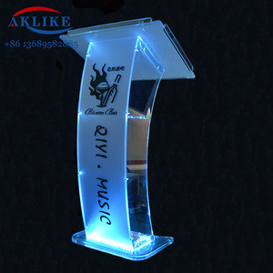Customized Cheap Portable Transparent Acrylic Lectern Podium Plexiglass Lucite Furniture Church Pulpit with Modern Logo