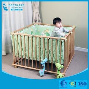 European Wooden Kids Play Center Yard adjustable Baby Playpen bed
