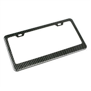 Factory custom glossy surface real carbon fiber car license plate frame