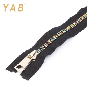Fashion Fancy Colorful Durable Customize 8# Long Chain Rhinestone Teeth Shiny Diamond Zipper Zip