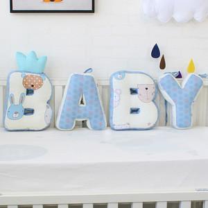 Kids room decoration baby safety cot bumper set mat letter pillow pads protector de cuna