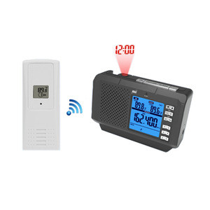 NOAA weather radio with wireless temperature projection clock