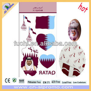 Qatar Flag Tattoo Body Tattoo Temporary Tattoo for Qatar National Day Gift in Different Size