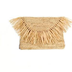 Raffia Straw Crochet Clutch Bag Evening Bag with Tassels