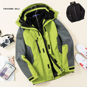 Two-piece Detachable Outdoor Jackets Mountain Fleece Warm Ski Jacket Softshell Waterproof  Mens Jacket Coats for Winter