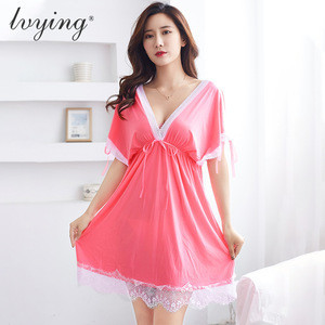 V-neck Fashion Transparent Mesh Sleepwear Lace Women Sexy Lingerie Sets Sexy pajamas