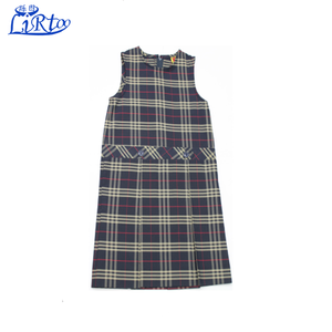 Wholesale school uniform girl's high neck pleated plaid jumper design skirt set dresses