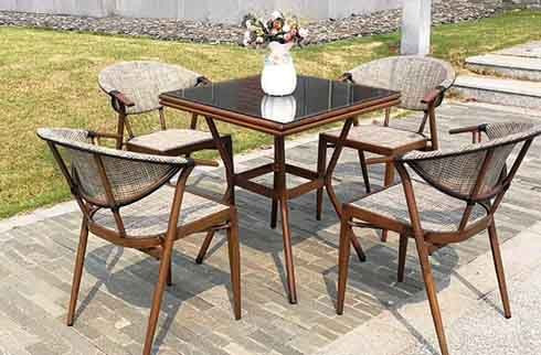 Outside Dining Table Set 8 Seaters Solid Wood Material Outdoor Furniture Garden Tax Free Cheap Price Wholesale from Vietnam