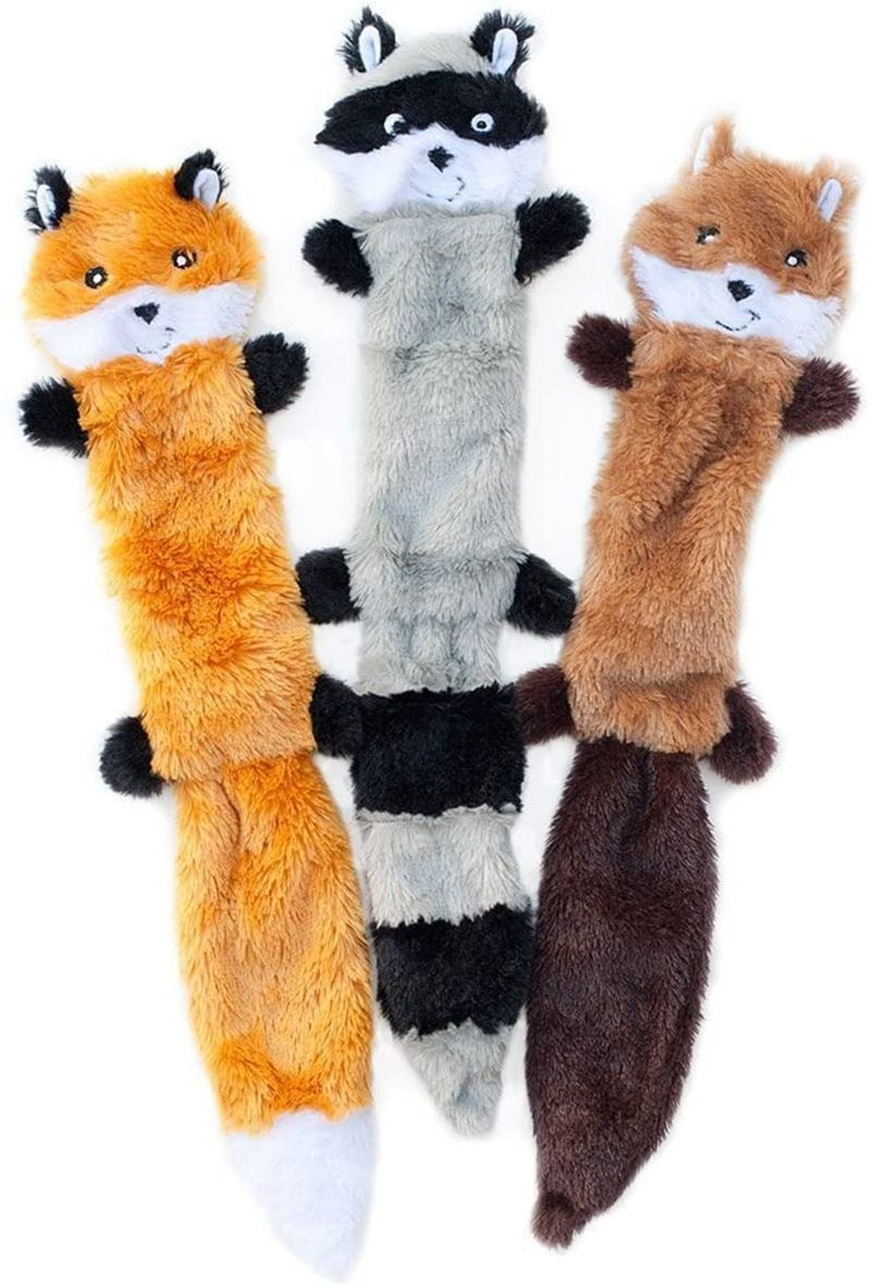 Squeaking plush dog toys, foxes, raccoons and squirrels-