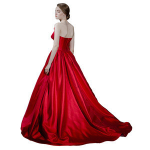 2108 Summer Red Satin Prom Dress Formal Evening Gowns Prom Dresses Long A-Line Homecoming Party Gowns