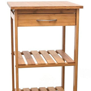 Bamboo design wood vegetable cabinet wooden tea storage hotel housekeeping cart kitchen trolley with wheels
