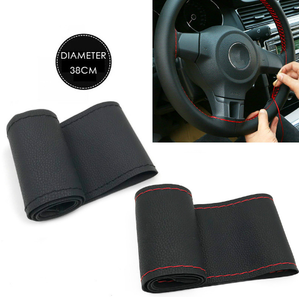 Best Quality - DIY Genuine Leather Car Steering Wheel Cover Soft Anti slip 100% Cowhide Braid With Needles Thread