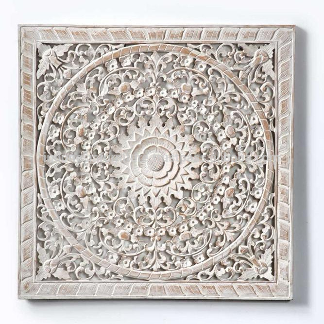 Carved Wood Wall Art Panel White wash HOTEL,HOME
