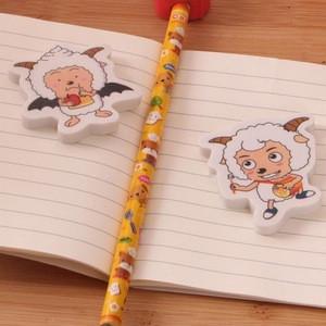 Customized cute rubber sheep animals shape school pencil eraser