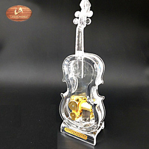 Exported to Worldwide fashion transparent acrylic violin shape music box for  promotional gifts and children's toys