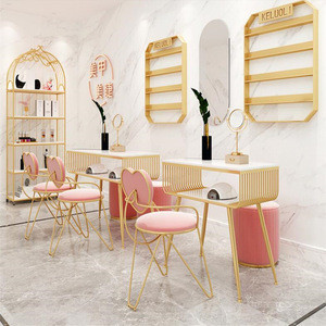 Fashion Marble Nail Table and Chair Set, Single Double Golden Iron Manicure Table Set