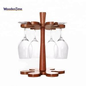 Handcraft Holder Rack Display Organizer Stand Holder Natural Bamboo Wine Glass Holder for 6 Glasses / Wine Rack