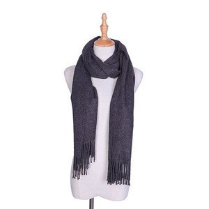 Latest Plain Scarf Yarn Dyed  Excellent Quality Long Size More Colours Women Cashmere Scarf With Tassel