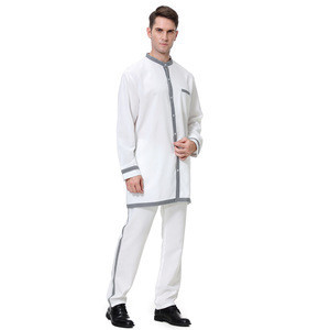 New style Fashion islamic muslim clothing men thobe Long Sleeve 2 Piece Suit muslim men garments
