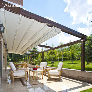 Waterproof Retractable Pvc Pergola Motorized Patio Awnings With Louvered Roof With Curtain Or Led Waterproof Retractable Pvc Pergola Motorized Patio Awnings With Louvered Roof With Curtain Or Led Suppliers Manufacturers
