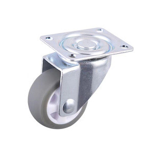 38mm Gray TPE Plate Small Swivel Caster Wheels Without Locking