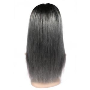 4*4 Lace Frontal Closure Wig Indian Straight 1B/Grey  Human Hair Wig