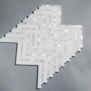 China Statuary White And Pearl Shell Mixed Herringbone Marble Mosaic