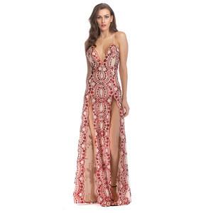 Deep V neck spaghetti strap women split sexy maxi sequin party evening dress long