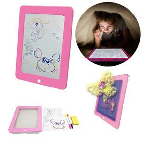 Educational 3D Magic Drawing Pad Plastic LED Writing Board For Kids Creative Art Magic Board With Pen Brush Children Clipboard