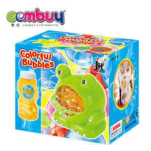 Hot sale cartoon frog game kids play electric soap set funny bubble gun toy