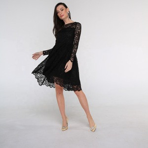 Lace Long Sleeve O-neck Black Navy Above knee Wholesale Clothing For Women Evening Dresses