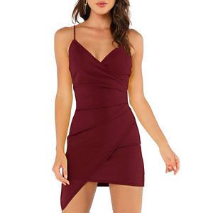 Latest Design Pleated Asymmetric V-neck Skinny Sling Mini Evening Party Sexy Club Dresses