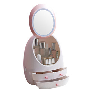 Mirror with led lights Makeup Box Cosmetics Rack  Lipstick Eyeliner Makeup Tool Storage with Light Storage Box Makeup Mirror